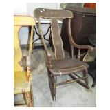 EARLY PLANK SEAT DECORATED ROCKER