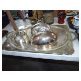 LARGE SILVERPLATE TRAY AND COVERS