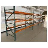 Large amount of pallet racking uprights, rails & shelf supports