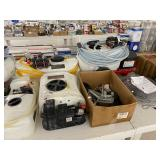 assorted sprayers, fuel transfer pump, fan