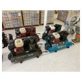 Gas powered twin tank air compressors