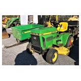 JD 212 riding mower w/ bagger and cart