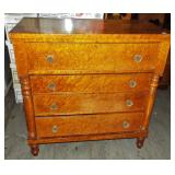 EARLY COLUMN SIDE TIGER MAPLE HIGH CHEST