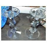 DEPRESSION GLASS CANDLESTICKS