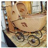 EARLY WICKER DOLL CARRIAGE