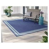 5x7 ft Blue Aqua Border Area Rug
