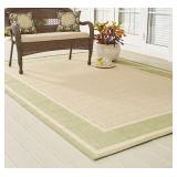 HB Tan/Green 5x7ft Indoor/Outdoor Area Rug