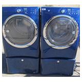 Blue Electrolux Washer & Dryer Set w Stands