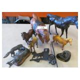Leather and Metal Horse Figures