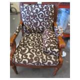 Large Plush Wooden Vintage Arm Chair