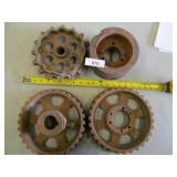 4x Large Cast Iron Ore Cart Wheels