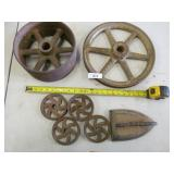 6x Cast Iron Ore Cart Wheels and Iron