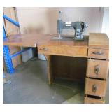 Antique White Rotary Sewing Machine w Cabinet