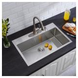 Drop-in Stainless 32in 4 Hole Satin Kitchen Sink