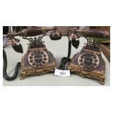 Pair of Vtg Style Antique Corded Telephones