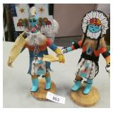 2 12in Native American Kachina Dolls Artist Signed