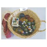 Vintage Marbles & Shooters in Basket