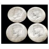 4x Silver US Kennedy Half Dollars