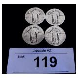 4x SIlver US Standing Liberty Quarters