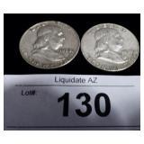 2x Silver US Franklin Half Dollars