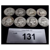 8x Silver US Washington Quarters