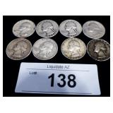 8x Silver US Washington Quarters