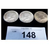 3x 1964 Silver US Kennedy Halves