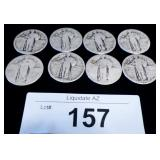 8x Silver US Standing Liberty Quarters