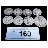 8x Silver US Mixed Coins - Quarters & Half