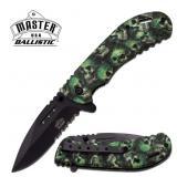 MASTER USA BALLISTIC GREEN SKULL CAMO KNIFE
