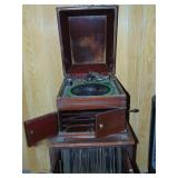 Victrola wind-up record player with cabinet