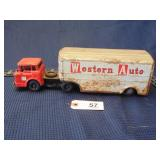 Linemar tin toy truck and trailer Western Auto