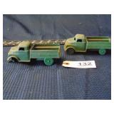 2 toy green platic trucks - made in USA