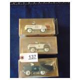 3 die-cast kiddie toy pedal cars