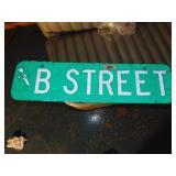 """B"" Green Street Sign"