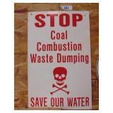 stop coal combustion waste dumping sign -cardboard