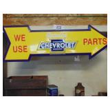 Chevy parts arrow sign