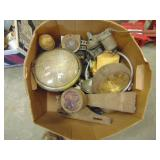 box lot- old head lights, Dodge brake & tail light