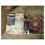 light, old electric heater, AM/FM cassette dash