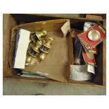 door knobs, gavel, nice wood box, assorted items