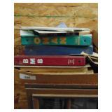 Box of manuals - Cat D4D, car magazines