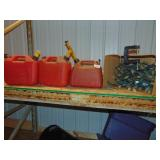 (3) Plastic Gas Cans, Christmas Lights, &