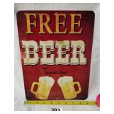 "New Free Beer Tomorrow Metal Sign 12""x9"""