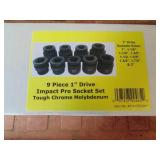 "Powerbuilt 9pc. 1"" Drive Impact Socket Set"