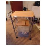 Wood Top Rolling Kitchen Cart