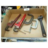"(2) 10"" Pipe Wrenches, C Clamps, Adjustable Wrench"
