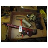 "14"" Pipe Wrench, Gas Valve?, Burner"