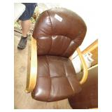 (4) Wooden Padded Rolling Swivel Dining Chairs