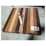Cutting board w/ candy thermometer