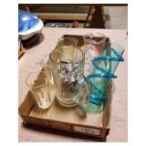 4 Glass Measuring cups & Misc